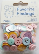 Favorite Findings Pastels Flat Back Sewing Buttons