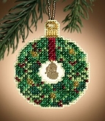 Mill Hill Emerald Wreath Christmas ornament counted cross stitch kit