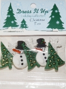 Dress It Up Buttons - Christmas Past Snowmen, Christmas Trees, snowflakes