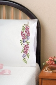 Tobin Home Crafts Bleeding Hearts pillowcases stamped for embroidery