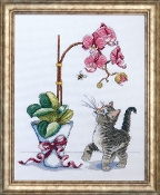 Design Works Crafts Orchid Kitty counted cross stitch kit