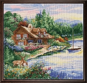 Design Works Crafts Lakeside Cabin 2767 counted cross stitch picture kit
