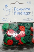 Favorite Findings Red and Green Sewing Buttons, Christmas crafts, scrapbooking, needlework