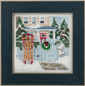 Mill Hill Holiday Memories MH14-3304 Christmas counted cross stitch kit - A beautiful Christmas winter scene of a house with a sled, ice skates and wreath on the fence