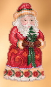 Jim Shore by Mill Hill - Set of Six Christmas Santa Ornament beaded counted cross stitch kits