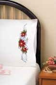 Tobin Home Crafts Poinsettia Christmas pillowcases stamped for embroidery