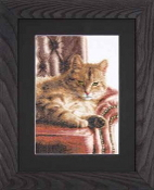 Lanarte Animals Collection, Relaxed Tabby - cat counted cross stitch kit