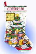 Design Works Sleepy Mouse Christmas counted cross stitch stocking kit