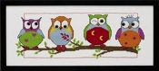 Permin Owl Friends counted cross stitch picture kit
