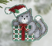 Mill Hill Winter Holiday Kittys Gift MH18-6305 Christmas Ornament counted cross stitch kit with treasure