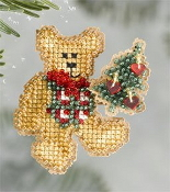 Mill Hill Winter Holiday collection Teddys Tree MH18-6301 Christmas Ornament counted cross stitch kit with treasures