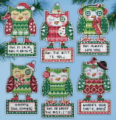 Design Works Crafts Happy Owlidays Christmas Owl Ornaments counted cross stitch kit