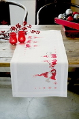 Vervaco - Christmas Gnomes Table Runner stamped for cross stitch kit with threads