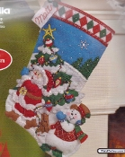 Bucilla Felt Applique Christmas Stocking, Pick a Tree - embroidery kit