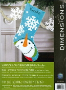 Dimensions felt applique Catching Snowflakes Christmas Snowman stocking kit - embroidery