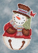 Mill Hill Snowbells - Frank Snowman Debbie Mumm Christmas Ornament beaded counted cross stitch kit