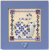 Mill Hill Quilted Cats - Sapphire - Jim Shore beaded counted cross stitch kit