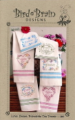 Bird Brain Designs Love Dream Friendship Tea Towels hand embroidery patterns