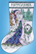 Design Works Santa and Polar Bear Christmas counted cross stitch stocking kit