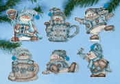 Design Works Crafts Cocoa Snowmen Christmas Ornaments counted cross stitch kit