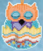 Mill Hill Owlets charmed ornaments - Tango Owl Easter beaded counted cross stitch ornament kit