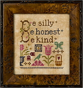 Lizzie Kate Snippet, Be Silly - Counted cross stitch pattern, chart with tiny heart charm
