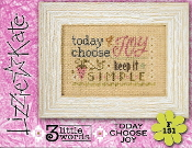 Lizzie Kate Flip-It, Today Choose Joy - Counted cross stitch pattern, chart, button