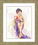 Lanarte Purple Butterfly Girl counted cross stitch kit
