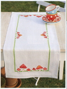 Vervaco Toadstools table runner stamped for Cross Stitch