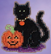 Mill Hill Autumn Harvest collection Wendys Cat Halloween counted cross stitch ornament kit