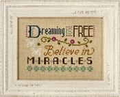 Lizzie Kate Flip-It, Dreaming is Free - Counted cross stitch pattern, chart, button