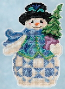 Jim Shore by Mill Hill - Evergreen Snowman JS20-5101 Christmas Ornament beaded counted cross stitch kit