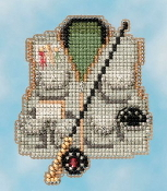 Mill Hill Spring Bouquet collection Fishing Vest MH18-1614 Ornament counted cross stitch kit with treasure