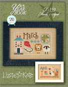 Lizzie Kate Double Flip, March April Yearbook Series Counted cross stitch pattern chart with charms