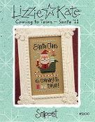 Lizzie Kate Snippet Coming to Town Santa Christmas Counted cross stitch pattern, chart with embellishments