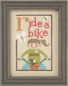 Lizzie Kate Green Flip-It, Ride A Bike Counted cross stitch pattern chart with button