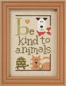 Lizzie Kate Green Flip-It, Be Kind To Animals Counted cross stitch pattern chart with button