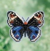 Mill Hill Spring Bouquet collection Blue Pansy Butterfly counted cross stitch ornament kit