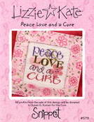 Lizzie Kate Snippet Peace Love and a Cure counted cross stitch pattern