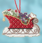 Mill Hill Sleigh Ride Charmed Ornaments Evergreen Sleigh MH16-1734 Christmas Ornament counted cross stitch kit