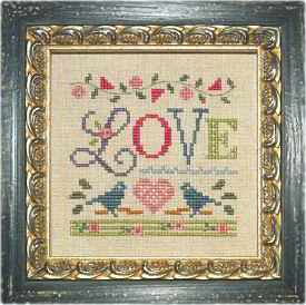 Lizzie Kate - A Little Love counted cross stitch pattern fabric button