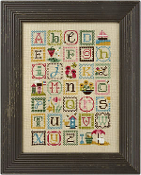 Lizzie Kate Summer Alphabet counted cross stitch chart with embellishments