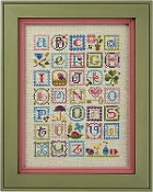 Lizzie Kate Spring Alphabet 146 counted cross stitch sampler chart pattern