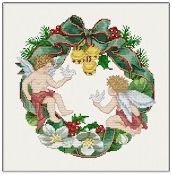 Ellen Maurer-Stroh - Wreath Angels Christmas counted cross stitch pattern chart
