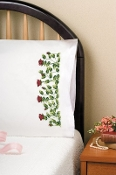 Tobin Home Crafts Rose Row Pillowcases stamped for hand embroidery