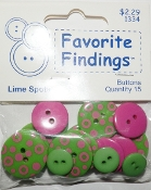 Favorite Findings Lime Spots Flat Back Sewing Buttons