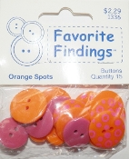 Favorite Findings Orange Spots Flat Back Sewing Buttons