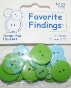 Favorite Findings Turquoise Flowers Flat Back Sewing Buttons