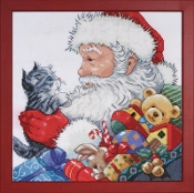 Design Works Crafts Santa and Kitten Christmas counted cross stitch picture kit