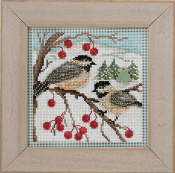 Mill Hill Buttons Beads Winter Series - Chickadees beaded counted cross stitch kit